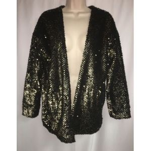 Express Cardigan XS Open Front Black Gold Sequins